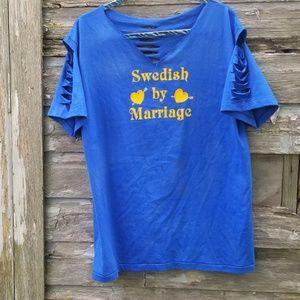Swedish Distressed Graphic Tee Tshirt Upcycled